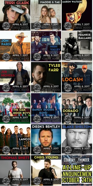 Country Thunder On Twitter Arizona Here S Your 2017 Lineup