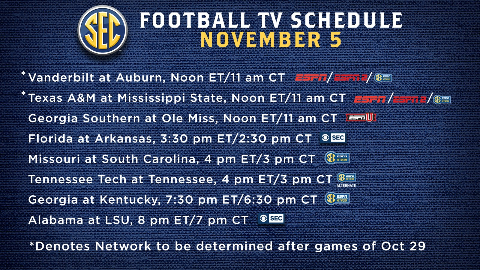 ncaa saturday schedule football television schedule