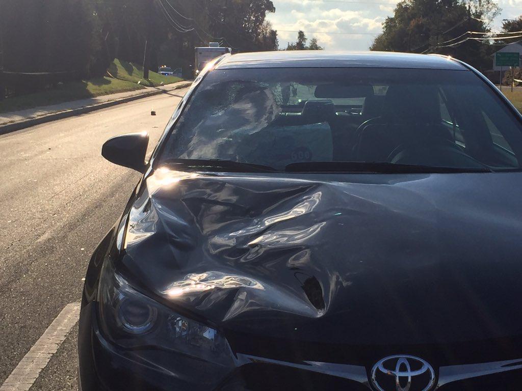 Car involved in this morning's fatal pedestrian accident. Horrific. @nbcwashington