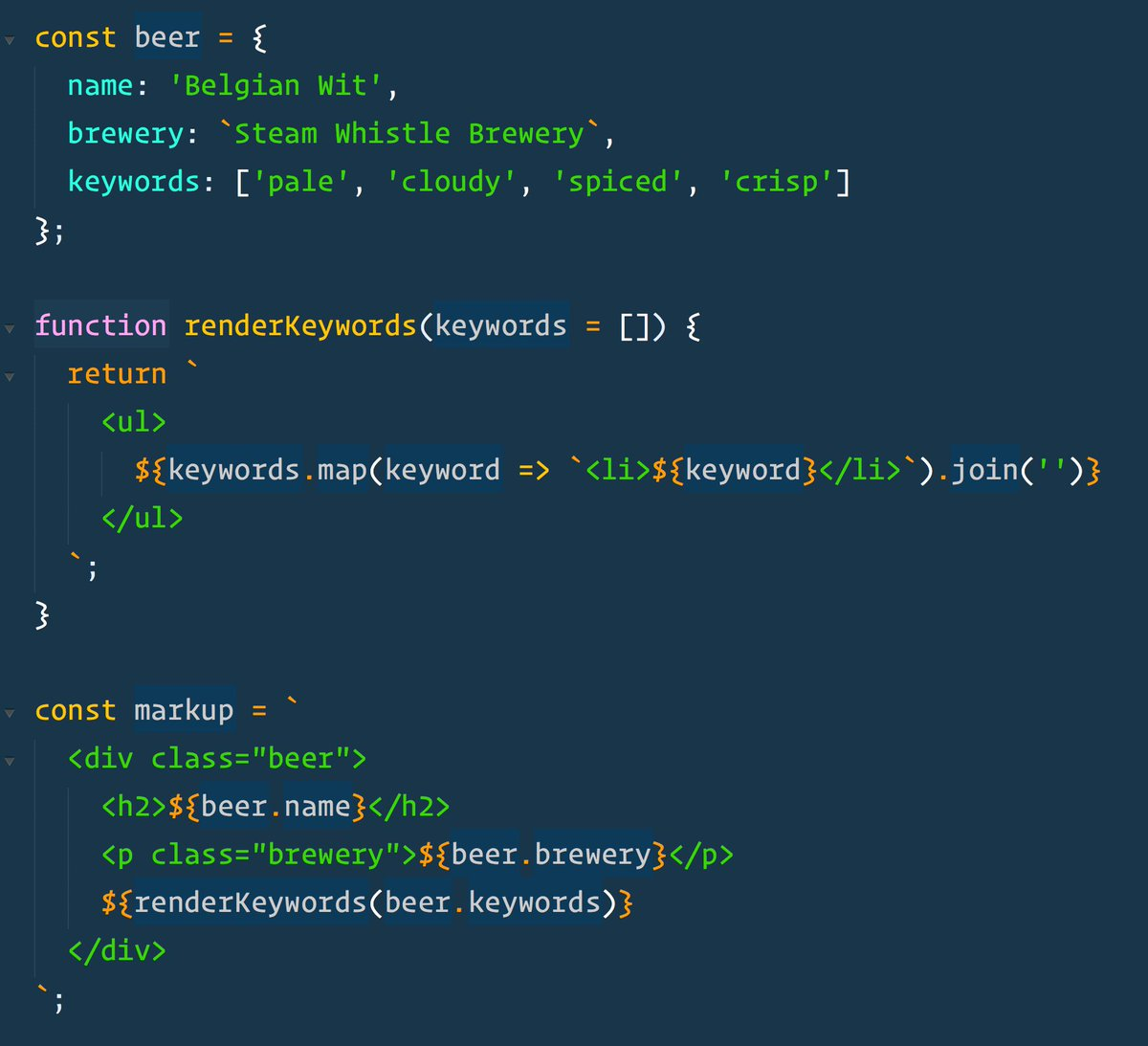 wes bos on twitter template literals in es6 are great for quickly creating html without a templating library httpstcoe4xhbvvhfj