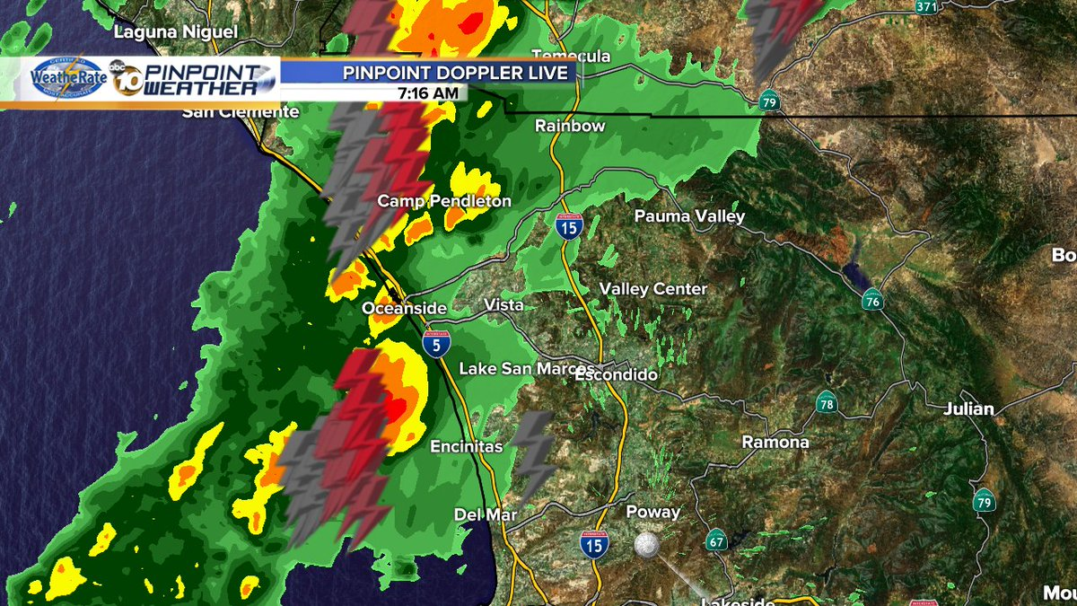 Rain hitting the coast from Del Mar into Orange County with abundant lightning lighting up the sky! @10News SDRain