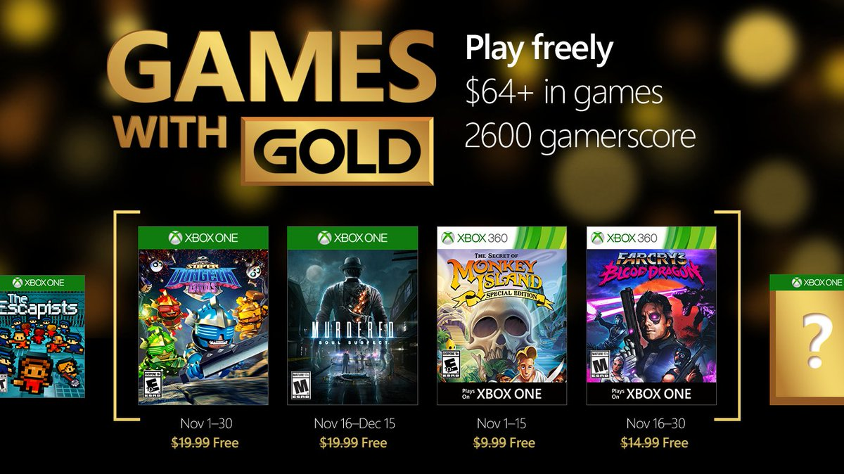 Xbox Live Games with Gold November 2016