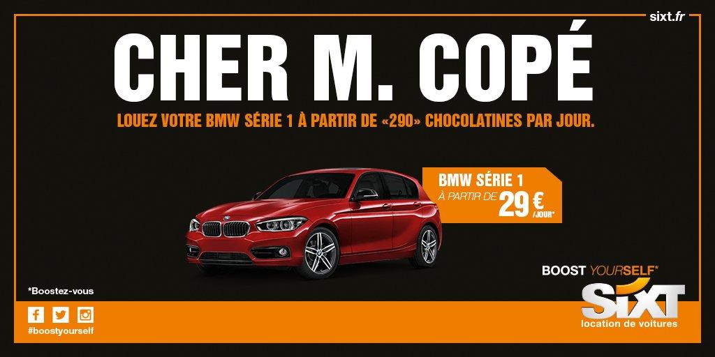 """Cher M. #Copé, louez votre BMW Série 1 à partir de """"290"""" #painauchocolat par jour. #CalculCommeCopé https://t.co/81xtmMn272"""