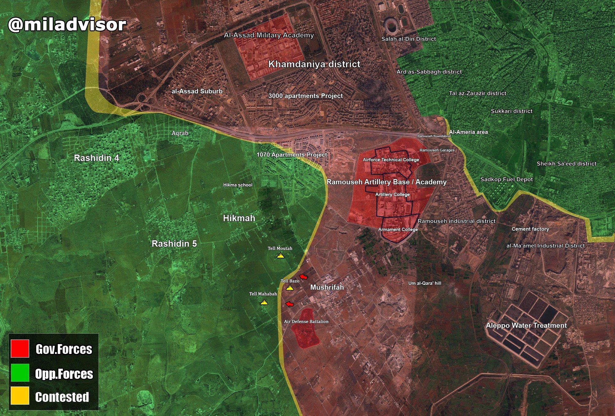 Битва за Алеппо. Бои за базу батальона ВВС