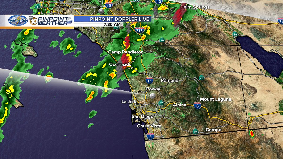 Heavy rain hitting Oceanside along w lightning - but the bottom half of the band of storms has fallen apart! @10News