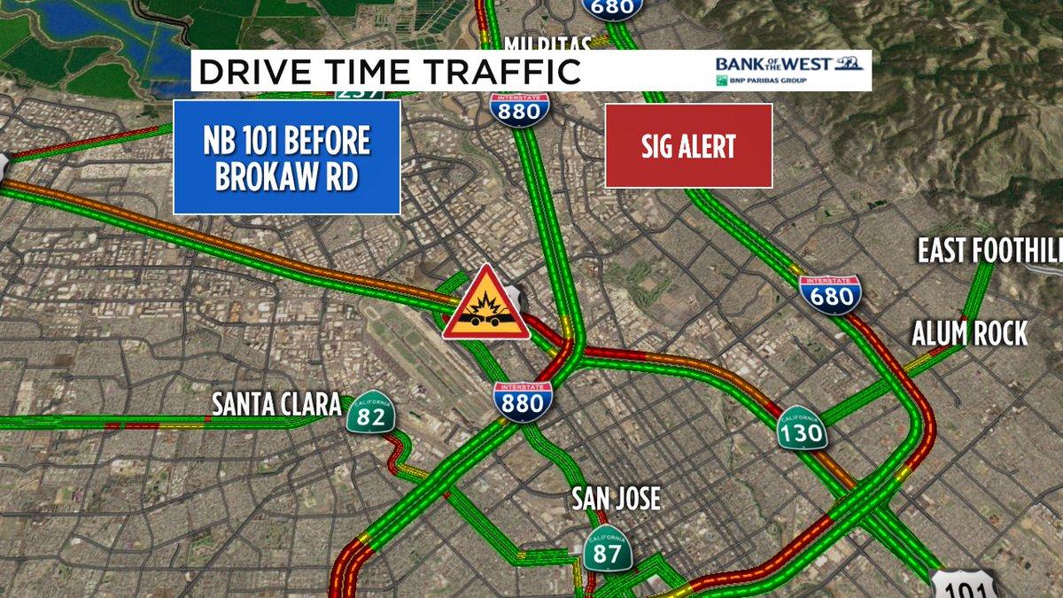 **Sig Alert** just issued for NB 101 in San Jose- crash blocking left lane approaching Brokaw.