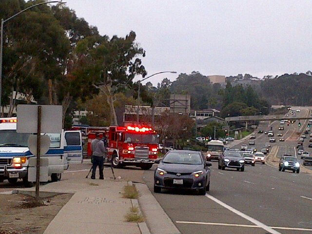 Southbound 5 on ramp at EB La Jolla Village Dr. Blocked after pedestrian hit by car. @nbcsandiego