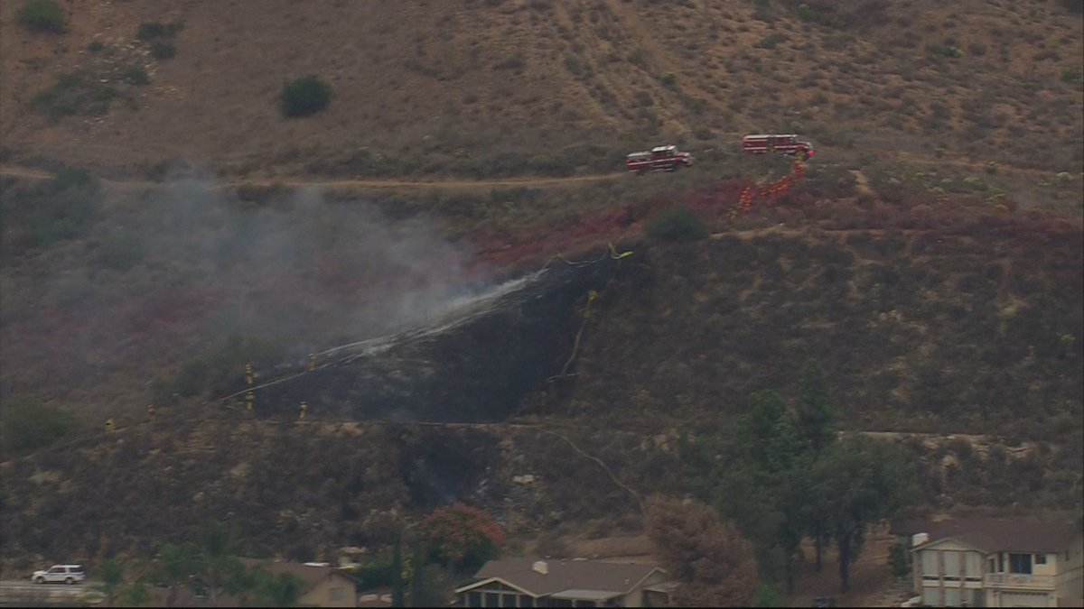 CHOPPER8 over 8 and Lake Jennings Park Road. Firefighters have a very good handle on it. @CBS8