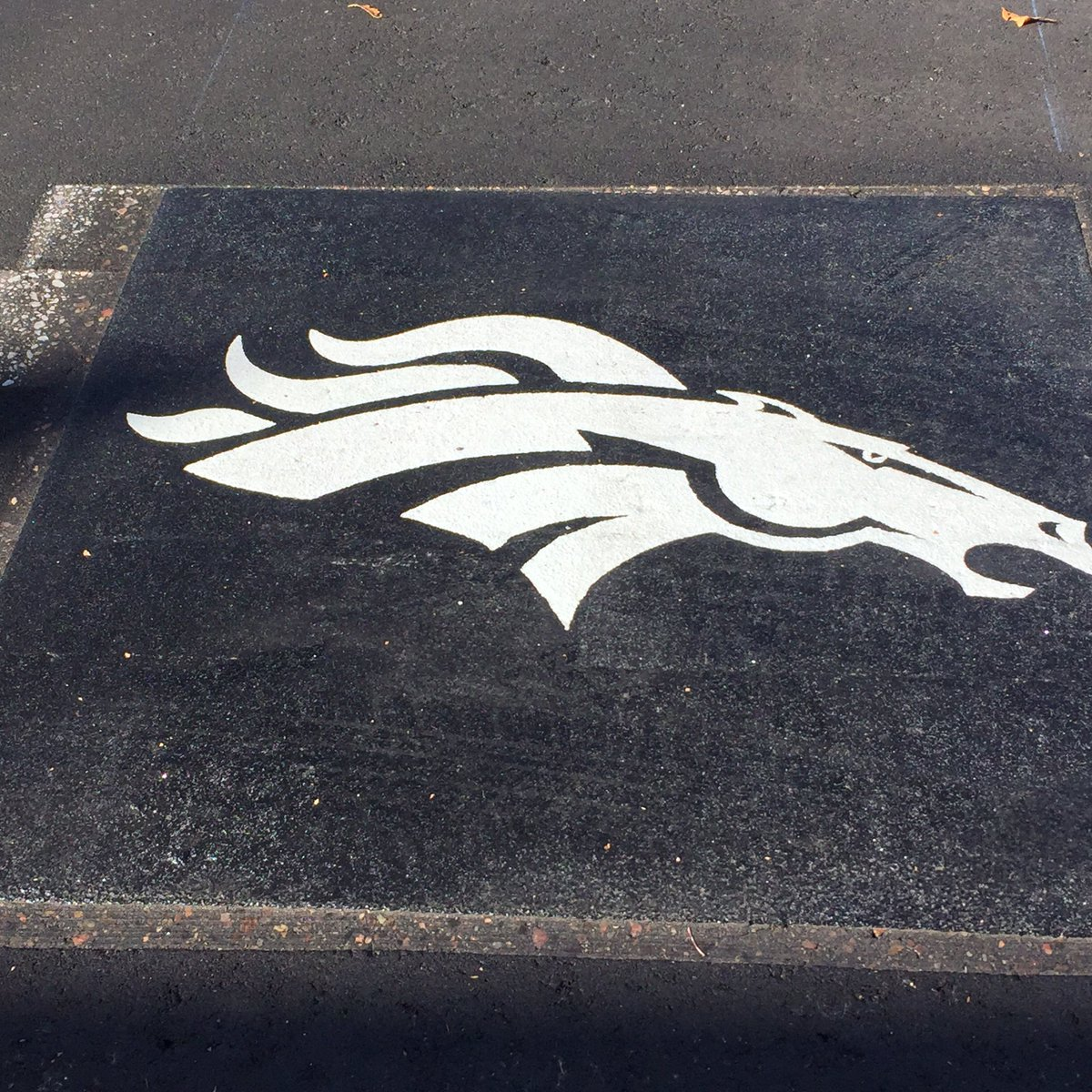 Broncos logo being inlaid in road in front of Bronco Training Facility on Bronco Parkway.