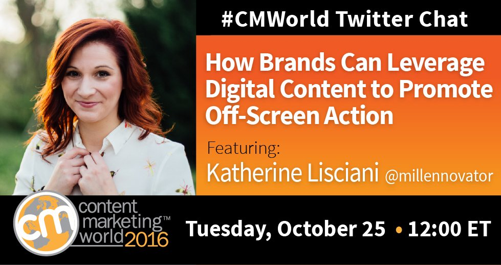 STARTING NOW! #CMWorld chat with special guest @millennovator. Let's discuss digital content and in-person events. https://t.co/zOFhY0xZcM