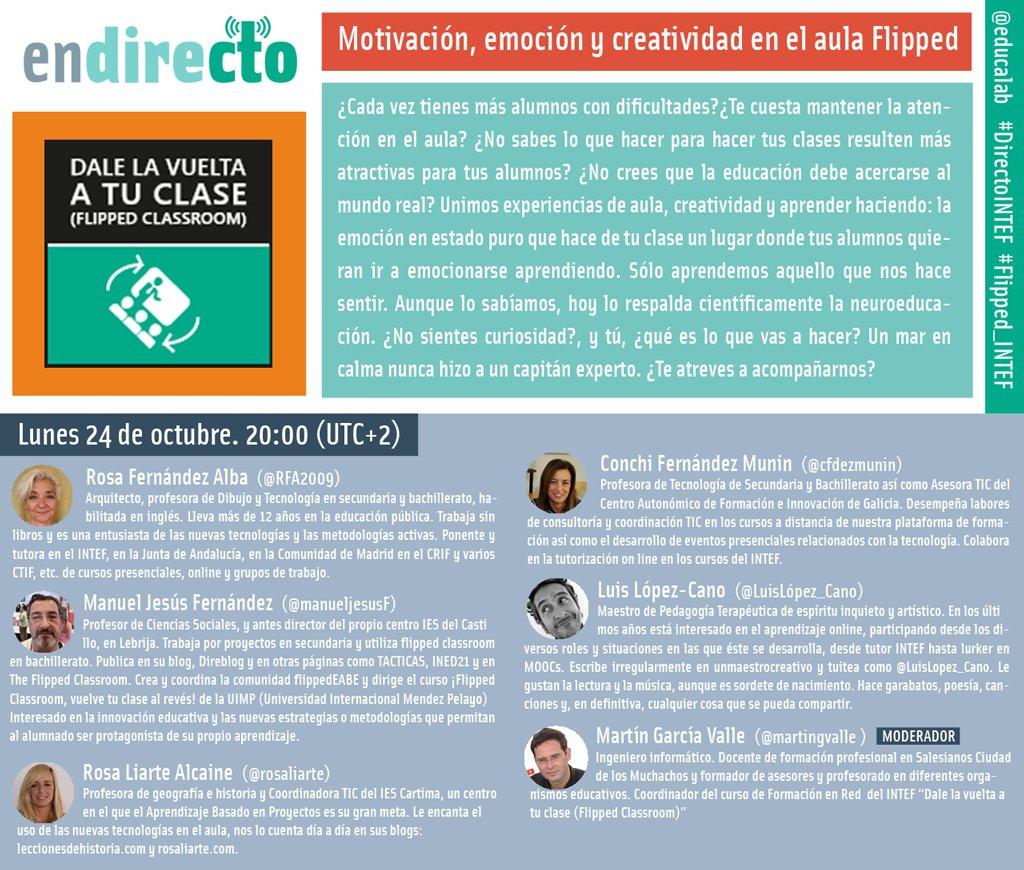 .@martingvalle La #flipped #Classroom permite implementar muchas metodologías sobre todo las activas  #directointef #FLIPPED_INTEF #ABP https://t.co/qlkw0aJz5I