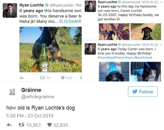 Hey @RyanLochte, the internet wants to know how old your dog *actually* is