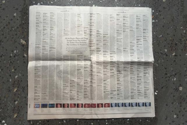 Why today's New York Times Is a total (Trumpy) collector's item https://t.co/YOa2cm7PO5 https://t.co/5qvbwh3wV0