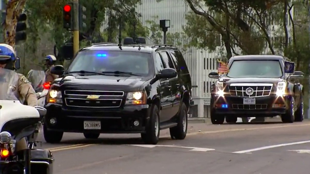 See how the president gets around San Diego as his motorcade arrives in La Jolla