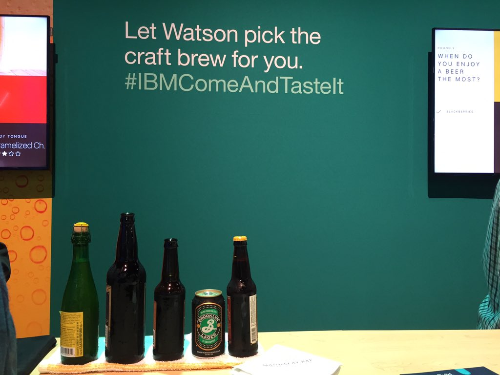 My trip through the cognitive concourse ended with Watson making #beer recommendations. #MachineLearning at its best! #ibmwow https://t.co/ERniIEuldW