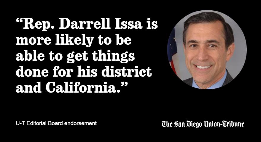 The @sdutIdeas editorial board endorses Rep. @DarrellIssa for re-election