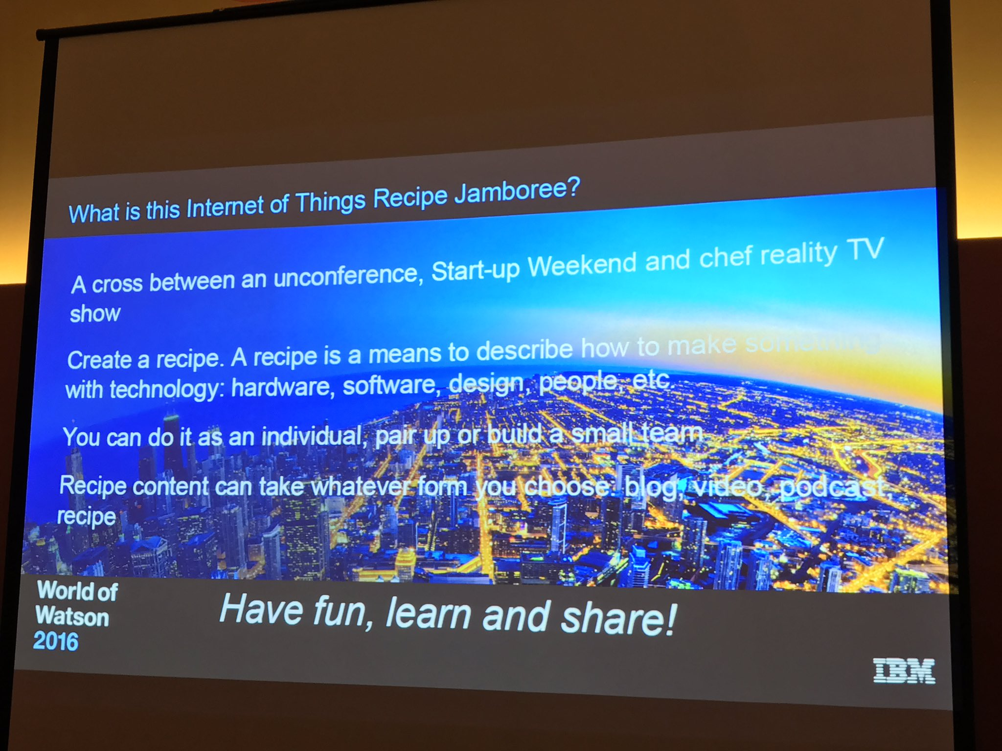 The #IoT Jamboree is a combo of unconference + startup weekend + chef reality show. We're asked to build something over next 2 days. #ibmwow https://t.co/Oe4DmaWsQY