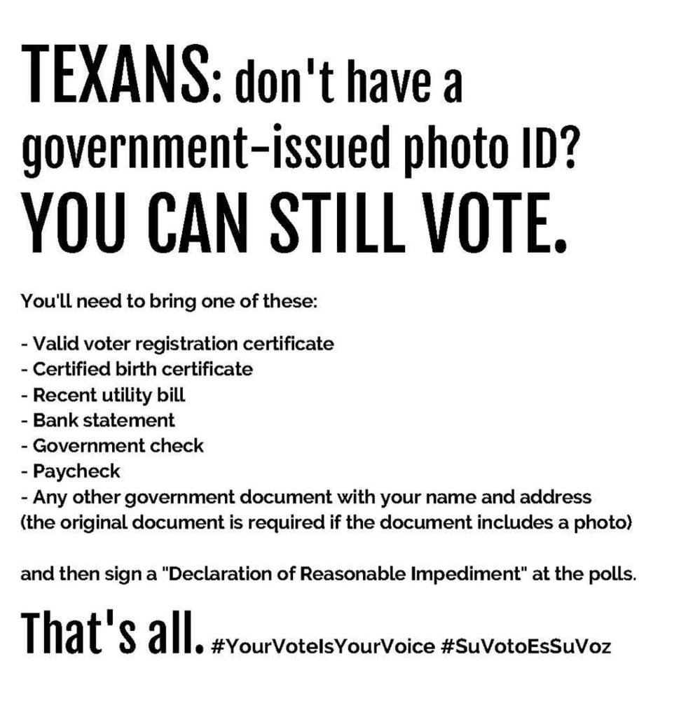 Please report any irregularities at the polls. Here's a link that outlines the real ID req… https://t.co/yqgaYxpKSr https://t.co/W8PBr664bJ
