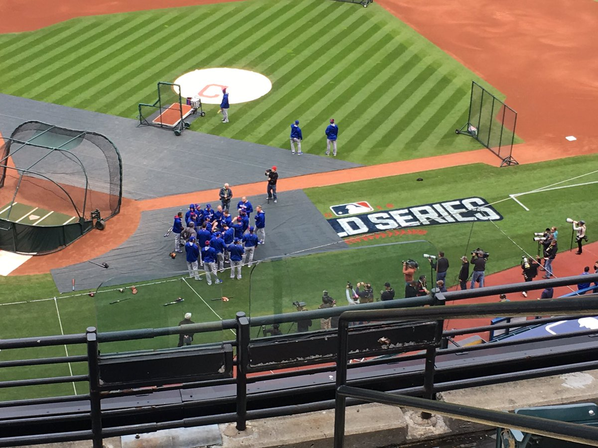 The Chicago Cubs are on the field for their first World Series workout in 71 years.