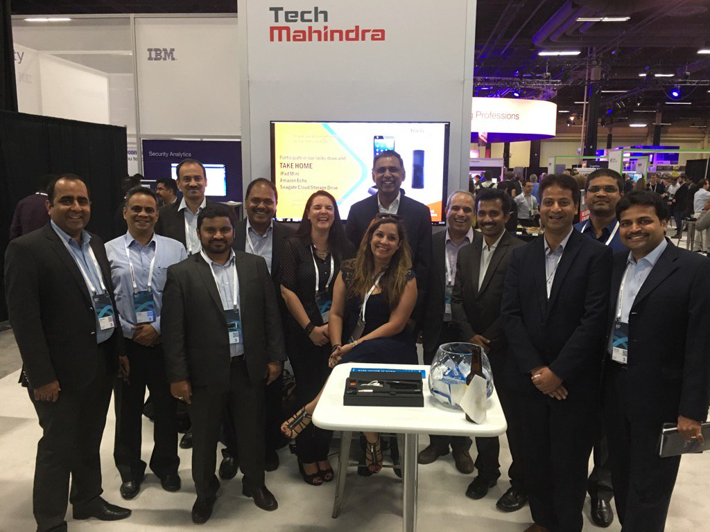 With the terrific@tech_mahindra team #ibmwow. Showcasing  #iot solutions that improve way people live & work https://t.co/JIGBT5gIGT