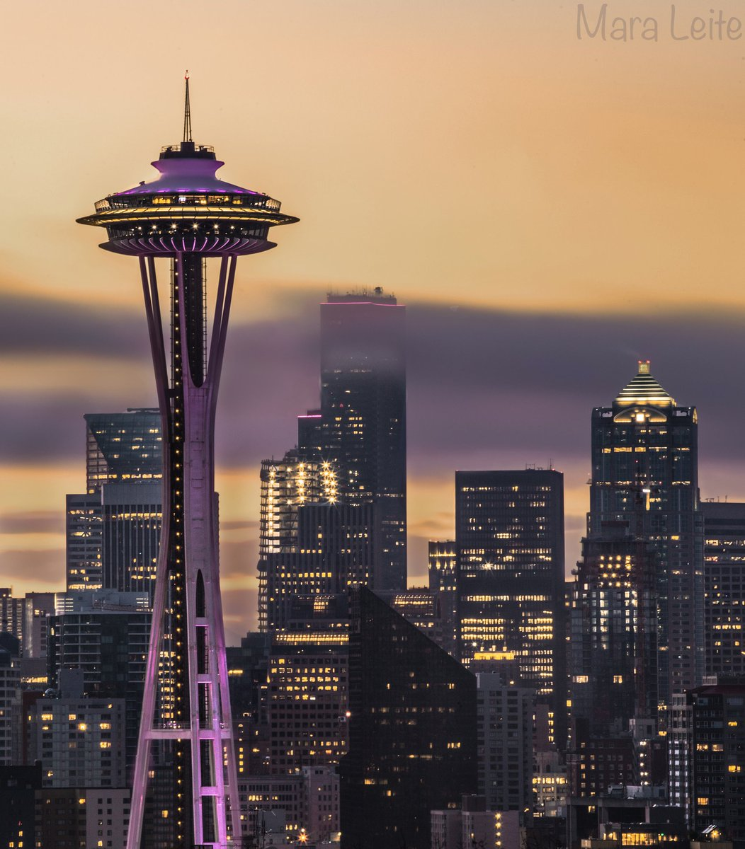 Seattle's Space Needle dressed in purple and gold for the Huskies!  Thanks to @TheMNVL for sharing