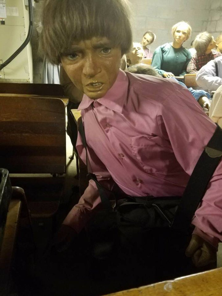 These wax figures of Amish kids are SUPER creepy
