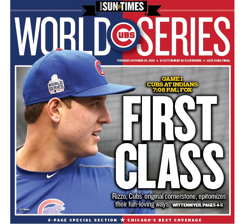 The @Suntimes Cubs Extra cover, featuring @ARizzo44, the original cornerstone, by @GDubCub.
