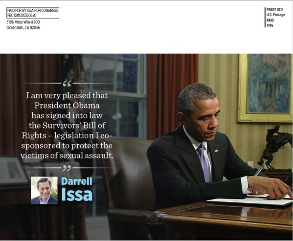 GOP Rep. Darrell Issa returns fire after President Obama rips his campaign mailer