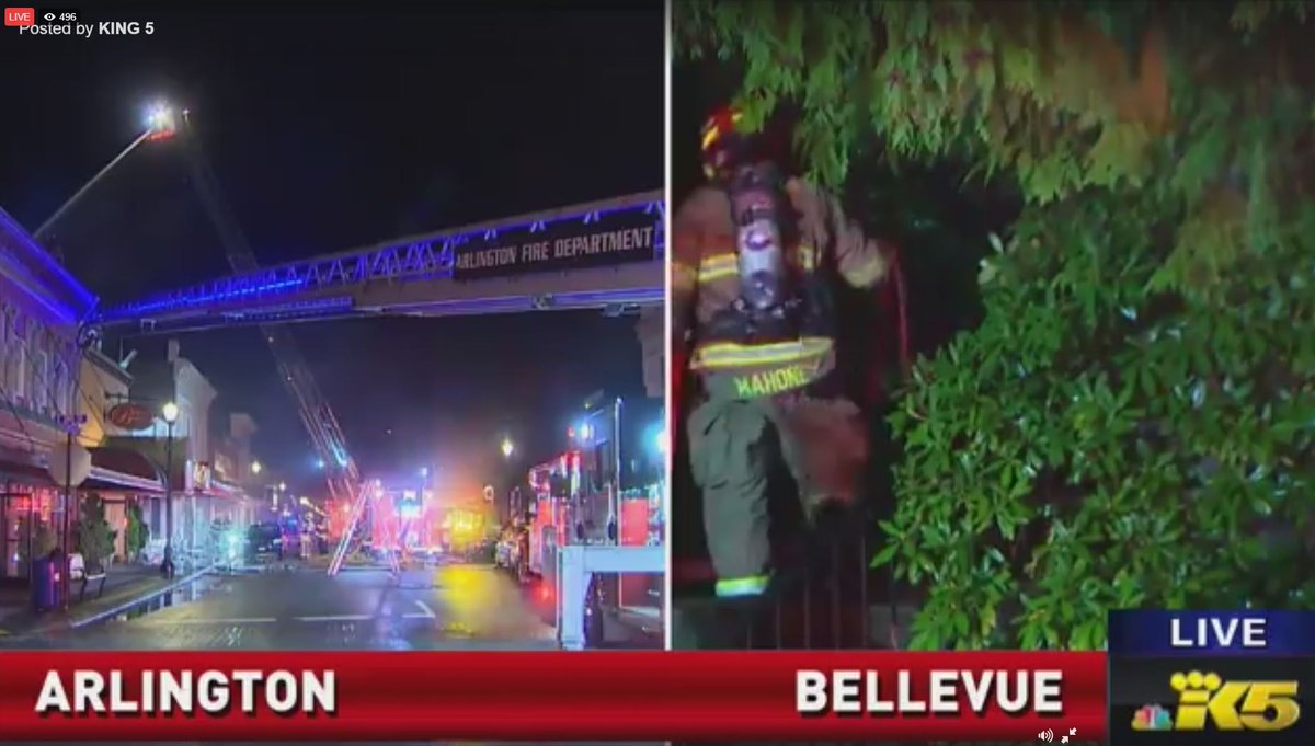 Live streaming two big fires right now - in Arlington and Bellevue WATCH