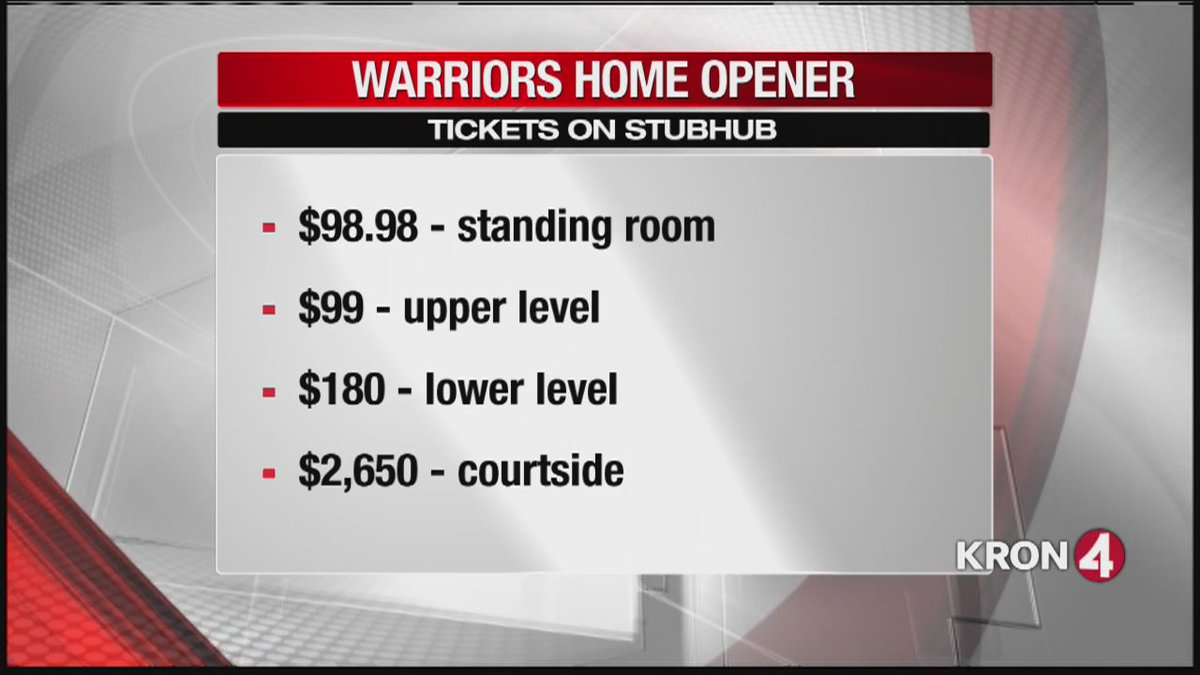 StubHub: Cheapest ticket for Golden State Warriors' season opener is $99.