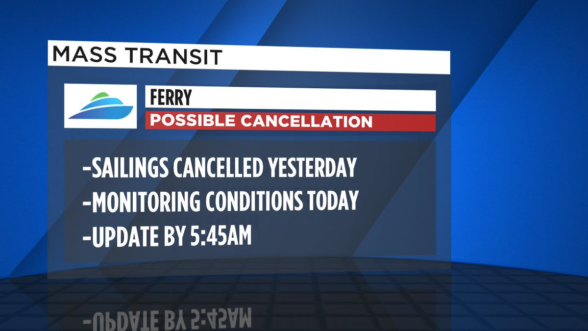 Sailings from S. SF to East Bay were cancelled last night due to weather; service update for today by 5:45am.