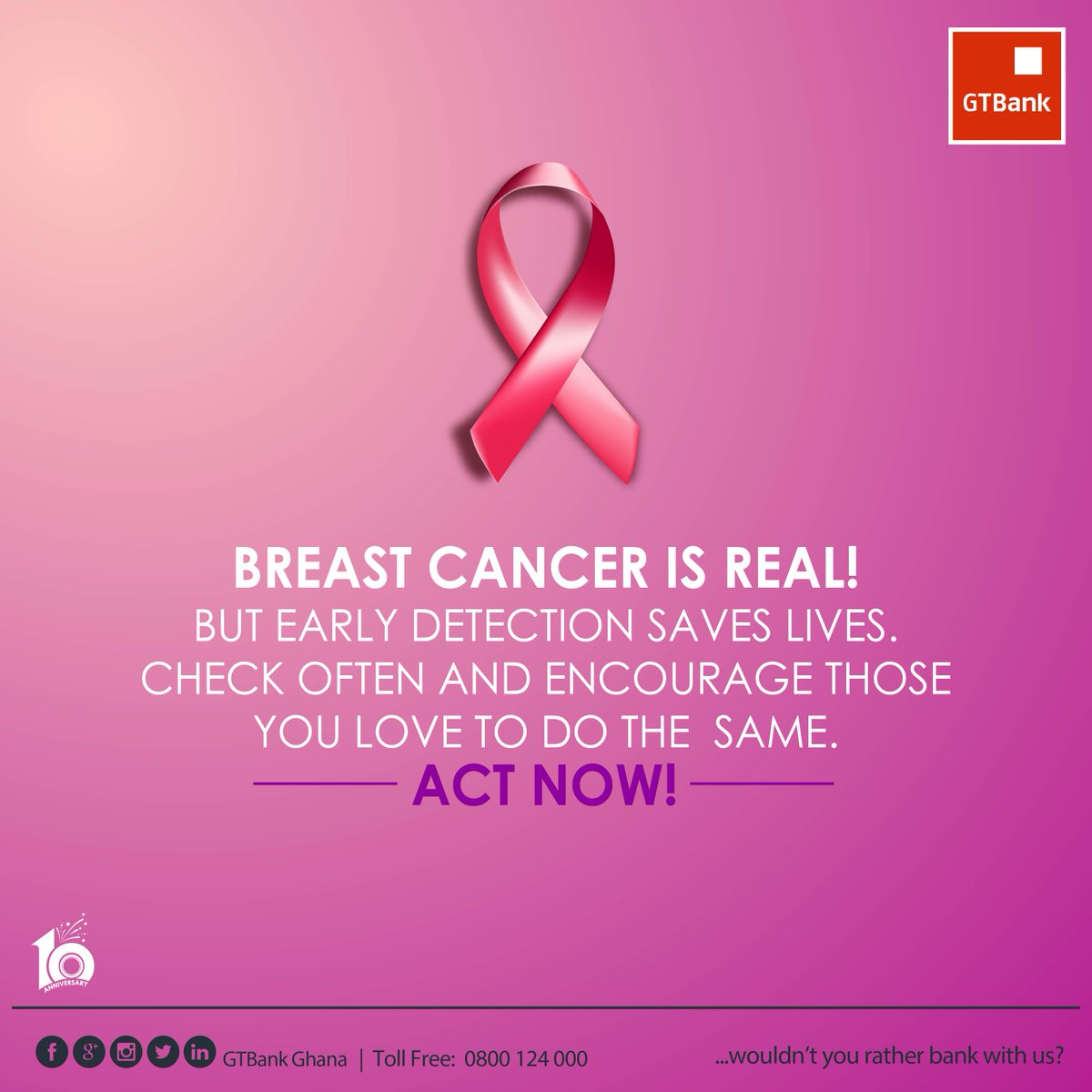 Gtbank Ghana Ltd On Twitter Breast Cancer Is Real But Early Detection Can Save Lives Check Often Encourage Those You Love To Do The Same Breastcancerawarenessmonth Https T Co Gwwlrb2bei