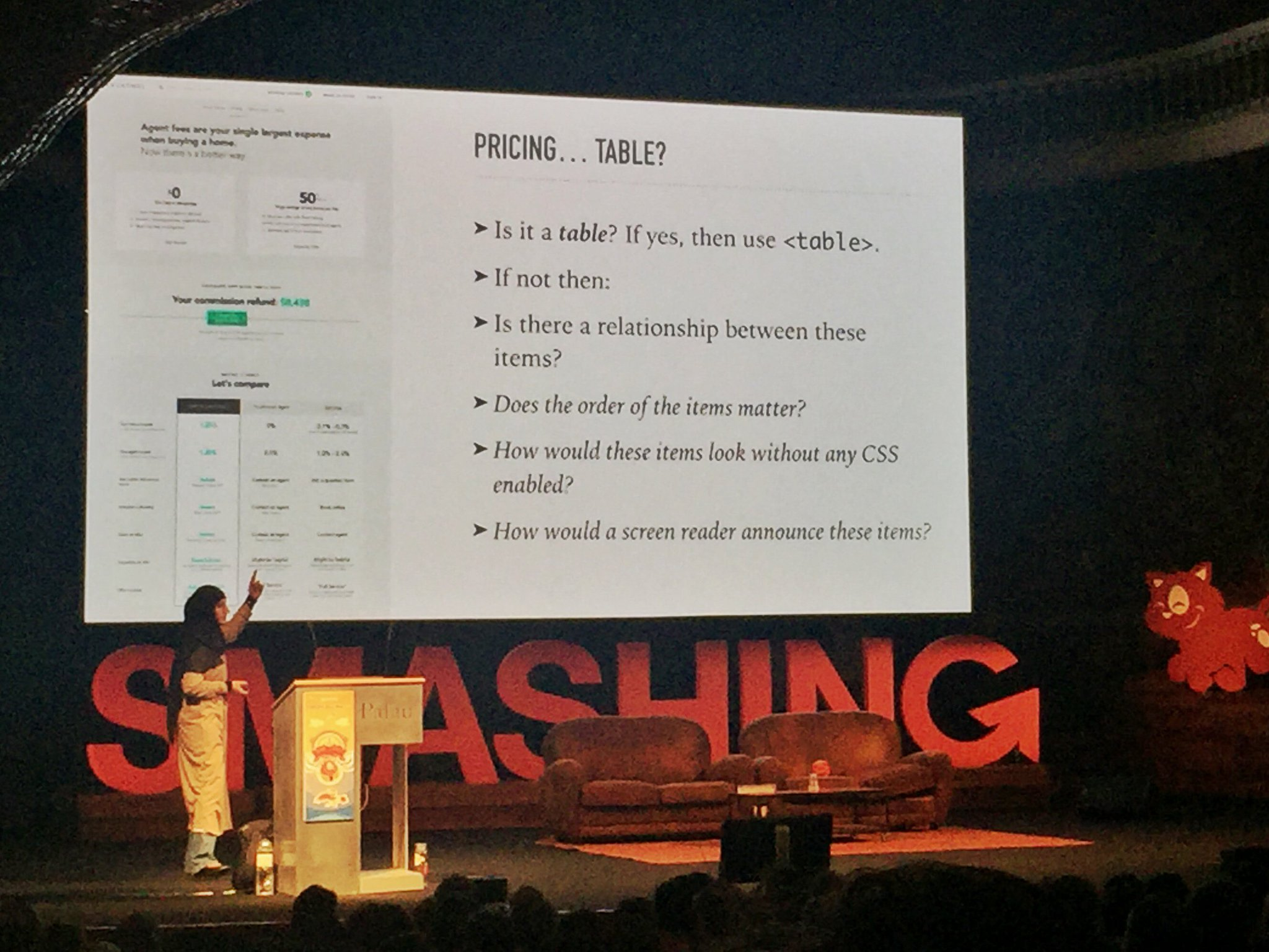 Big props to @SaraSoueidan for sneaking best practices (vm fallback, tab order & #a11y) along with presenting tricky snippets. #smashingconf https://t.co/si1Aj34DkH