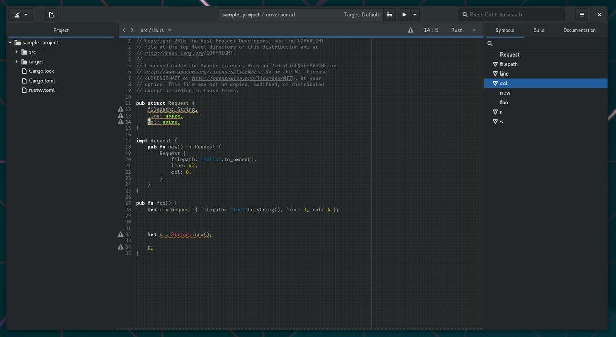 Preview of Gnome Builder Rust Symbol Tree : gnome