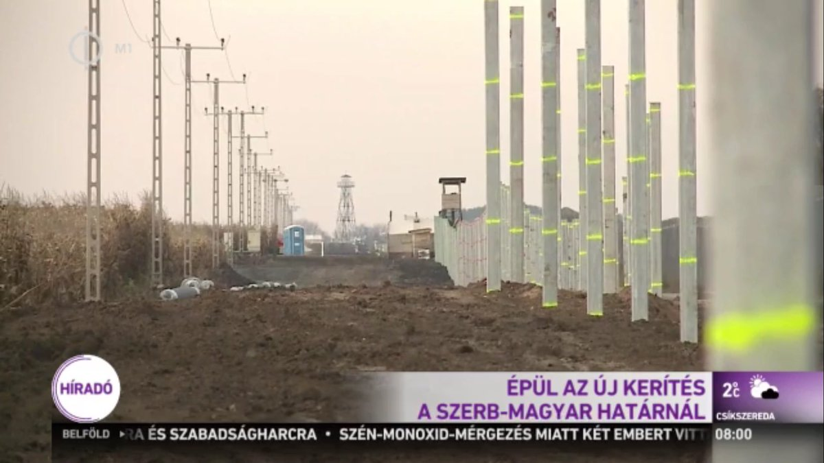 Hungary is erecting a new, strong barrier along its border with Serbia aimed at stopping all migrants: state TV