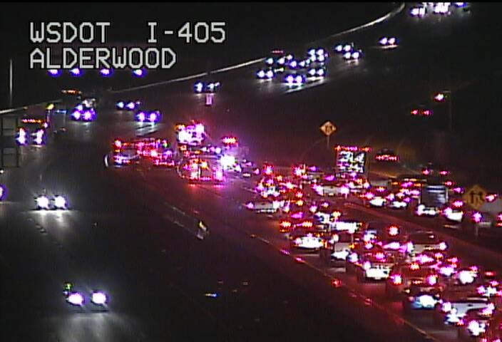 Collision on SB 405 is blocking 3 left lanes & making for a nasty back up on the ramp from SB I-5, too.