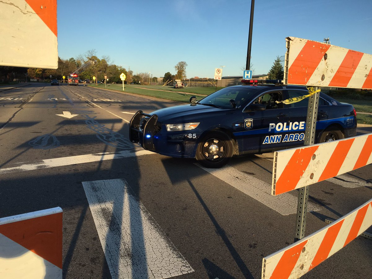 Happening Now: pedestrian hit by a car in Ann Arbor, in front of Huron HS. Fuller Road is closed to all traffic.