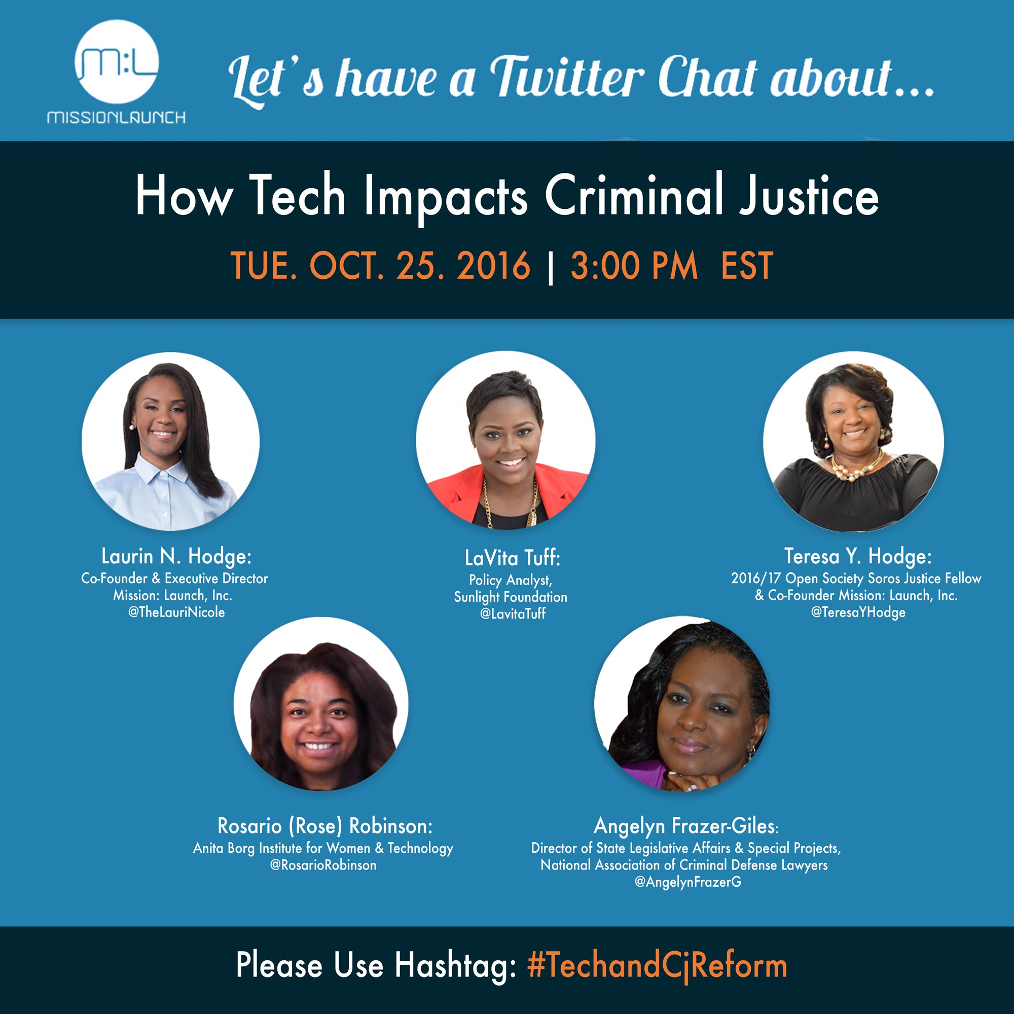 Today at 3PM we're hosting a #Tech & #CjReform Twitter Chat. Participate hashtag #TechAndCjReform  w/ @SunFoundation @NACDL @rosariorobinson https://t.co/CNOoeCXm14