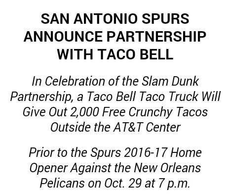 spurs home opener , free tacos before the game  gospursgo