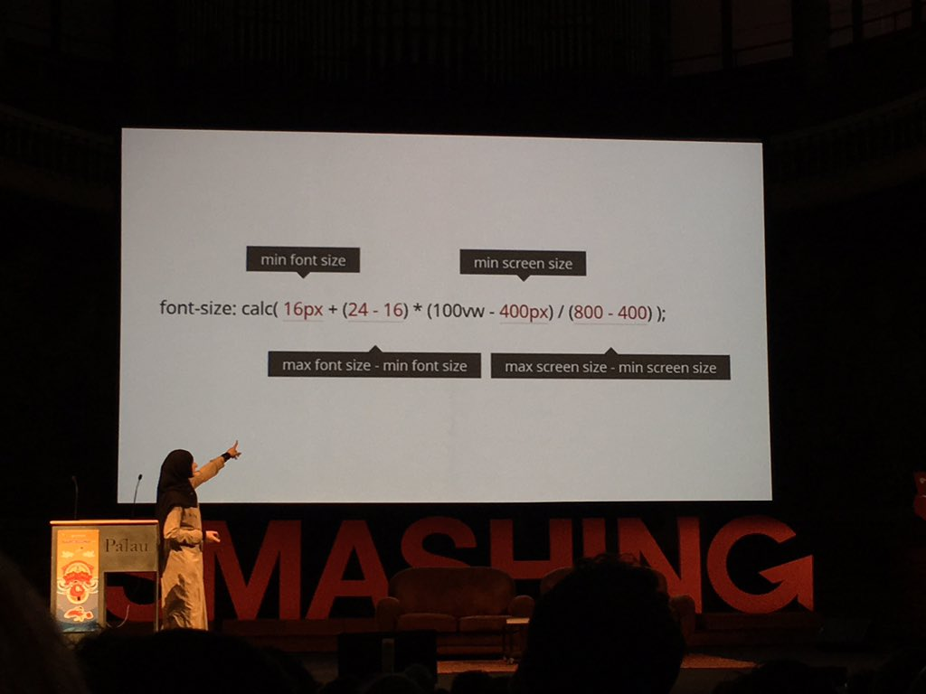 Awesome css skills for responsive type with @SaraSoueidan #smashingconf https://t.co/00NV63zP6x
