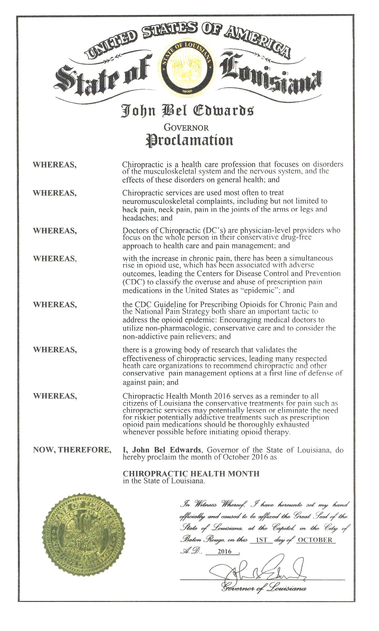 @LouisianaGov John Bel Edwards has proclaimed October as Chiropractic Health Month.  I am proud to be a #chiropractor! #Chiropractic1st https://t.co/eJpTOkbLX9
