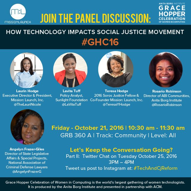 PT 2 of #GHC16  #TechAndCjReform = Twitter Chat  3PM today w/@thelaurinicole  @lavitatuff   @TeresaYHodge  @angelynfrazerg @rosariorobinson https://t.co/FpNe5MfAjE