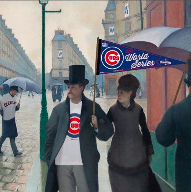The Art Institute's Iconic 'Paris Street' Painting Has Cubs Fever Too