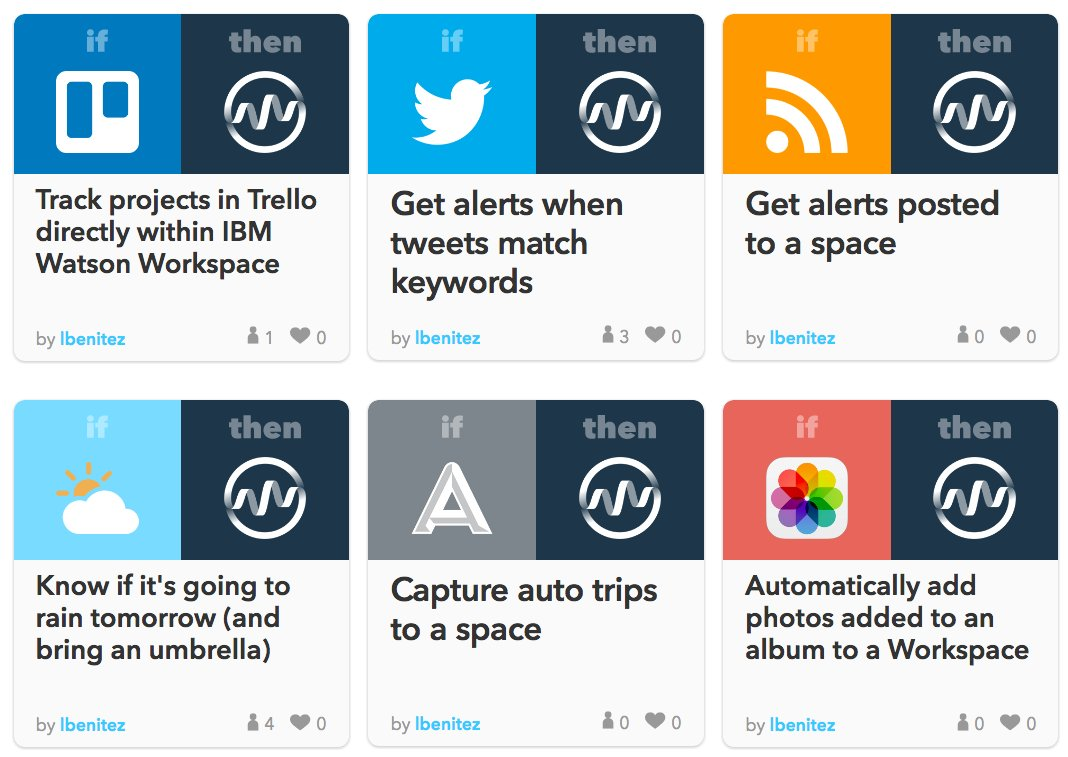 Just in time for #ibmwow! Please welcome the @IBMWatson Workspace Channel to IFTTT 🚀  https://t.co/MsNhhXnHeM https://t.co/QfrKRdTuu9