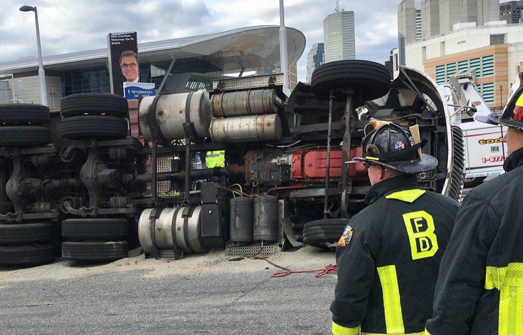 TT overturned on D St. South Boston. wcvb boston