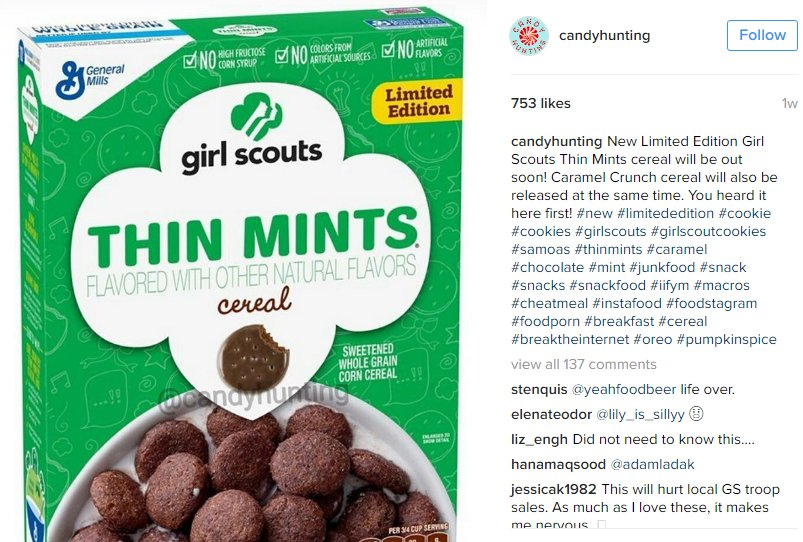 Girl Scout cookies have made way for Girl Scout cookie cereal