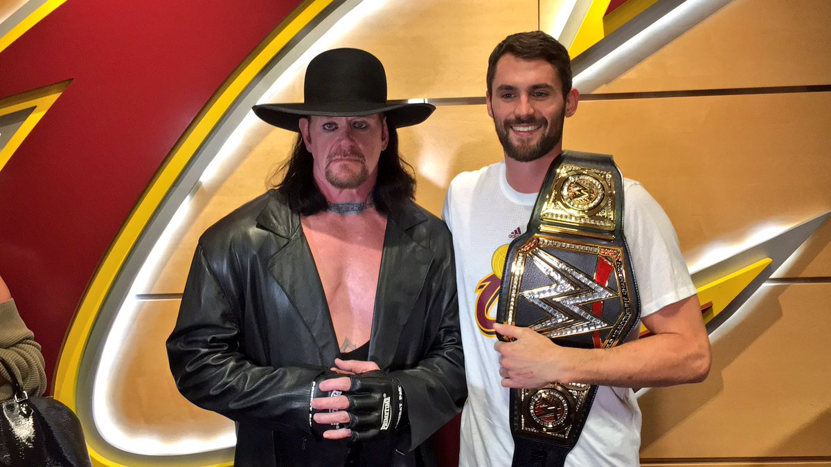 The long-awaited meeting between The Undertaker and Kevin Love. #Cavs #Undertaker https://t.co/iVDCQoQFro