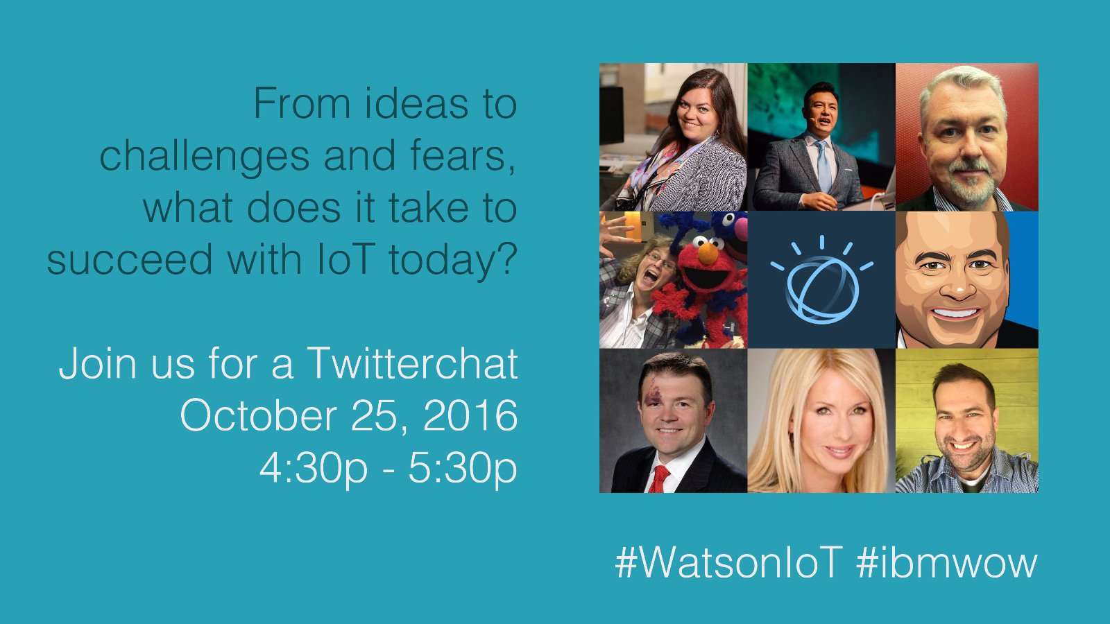 Right after the #ibmwow Internet of Things keynote, join the #IoT influencers for a chat with hashtag #WatsonIoT at 4:30 PM PT https://t.co/pxoJVqkwyD