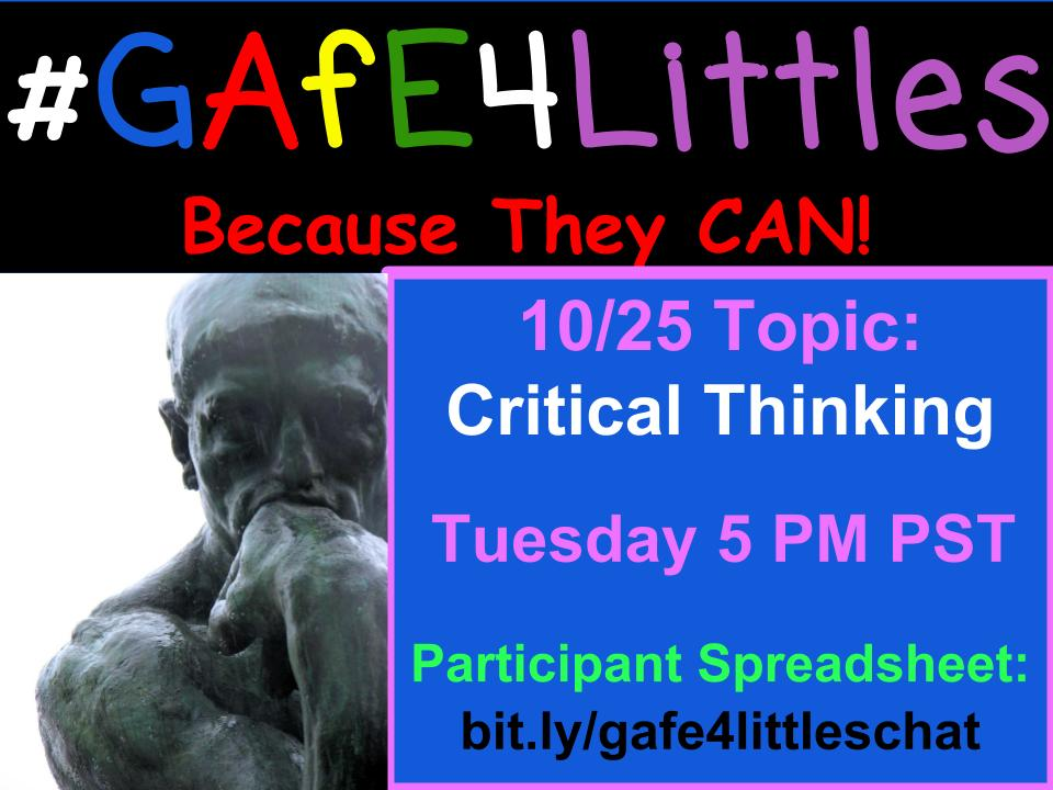 #gafe4littles chat coming up in about an hour! Discussing critical thinking. Check out the questions: https://t.co/Yh2qbFkC6C see you at 5! https://t.co/pvsXf2DACf
