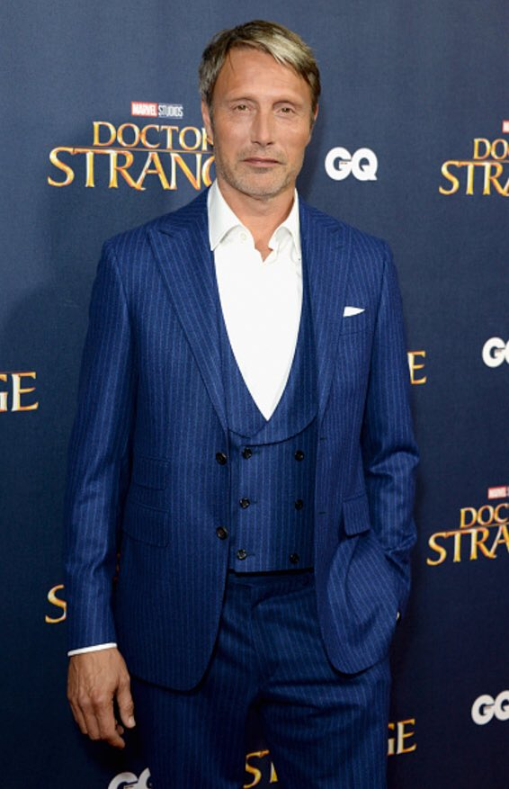 #MadsMikkelsen wears a @Canali1934 suit to the screening event of @DrStrange tonight in London, England. #Canali